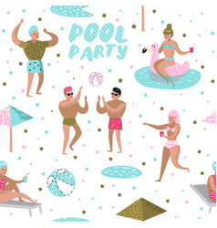 Pool party seamless pattern people swimming vector