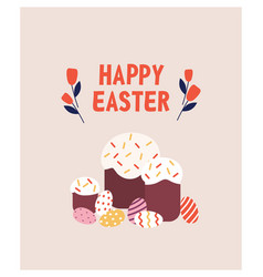 postcard template with traditional easter bread or vector image