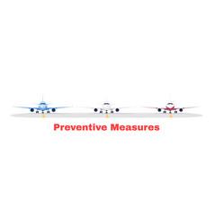 Preventive measure in airport terminal semi flat vector