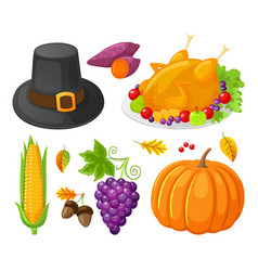 pumpkin thanksgiving day corn icons set vector image