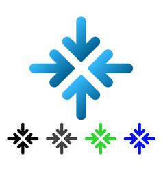 Quadro collide arrows flat gradient icon vector