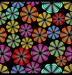 Rainbow uneven distributed abstract flower shapes vector