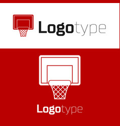 Red basketball backboard icon isolated on white vector