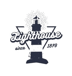 Retro nautical label with lighthouse sunburst and vector image