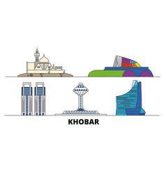 Saudi arabia khobar flat landmarks vector