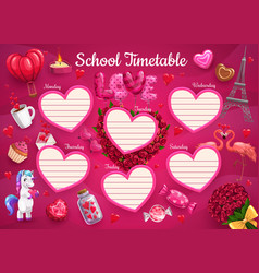 School timetable schedule template education vector
