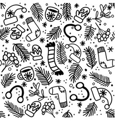 seamless pattern with mittens socks hats vector image