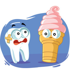 Sensitive tooth scared cold ice cream ca vector