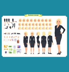 set of businesswoman character design vector image