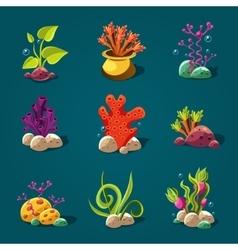 Set of Cartoon Algae Elements for Aquarium vector