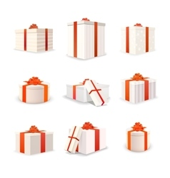 Set of white bright gift boxes with red tapes vector