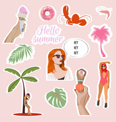 set summer cute elements vector image