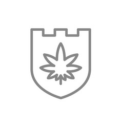 shield with cannabis leaf medical marijuana line vector image