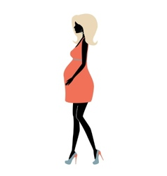 Silhouette of fashionable pregnant woman vector