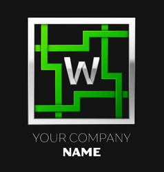 silver letter w logo symbol in the square maze vector image