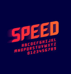 Speed style sport font alphabet letters vector