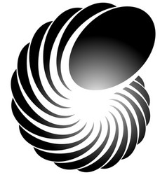 Spiral helix snail shape abstract monochrome vector