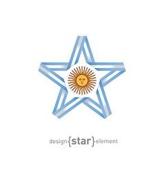star with Argentinian flag colors and symbols vector image