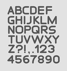 Strict alphabet rounded Isolated on white vector image