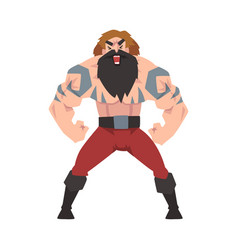 Strong muscular viking angry male warrior vector