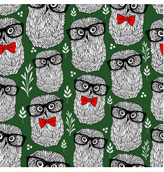 summer time seamless pattern with forest owls in vector image
