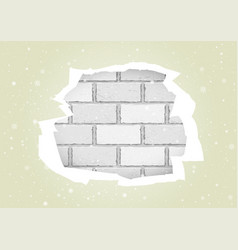 torn white wallpapers brick wall vector image