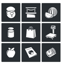 Trading on the market icons vector