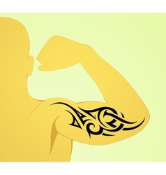Tribal arm tattoo pattern on male body vector