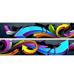 two horizontal graffiti banners vector image