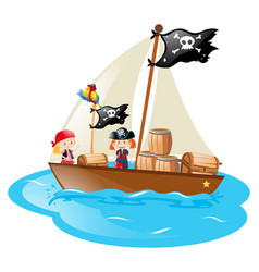 Two pirates sailing the boat vector