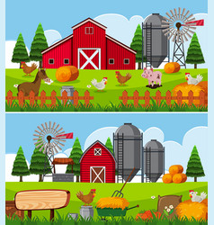 two scenes of farm with many animals vector image
