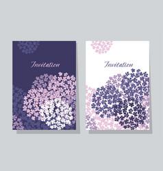 Violet hydrangea round bouquet card template vector