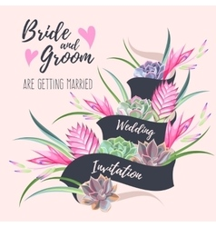 Wedding invitation with exotic flowers vector image