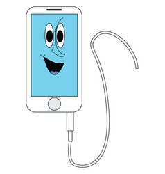 white and blue smiling iphone with white cord on vector image