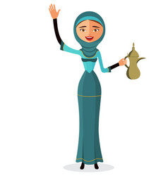 woman holding an arabic coffee pot and waving vector image