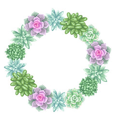 wreath with succulents echeveria jade plant and vector image