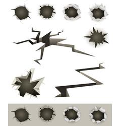 Bullet holes cracks and slashes set vector