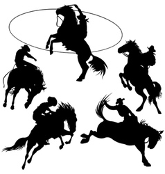 cowboys on horse silhouettes vector image