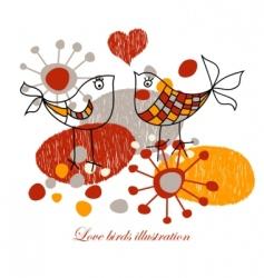 cute love birds vector image vector image