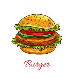 hamburger fast food cheeseburger icon vector image vector image