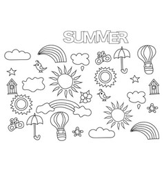 hand drawn summer weather set coloring book page vector image