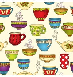 Seamless tea pattern with doodle teapots and cups vector image