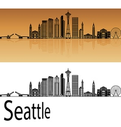 Seattle V2 skyline in orange vector image vector image