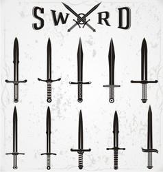 Sword silhouettes vector