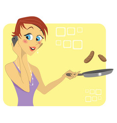 woman talking on the phone while cooking vector image vector image