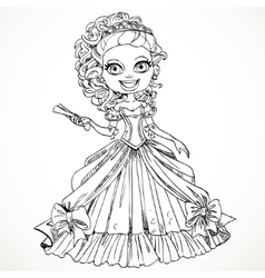 Beautiful princess in a ball dress with a fan in vector image vector image