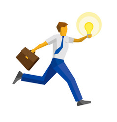 Businessman running with the lamp vector