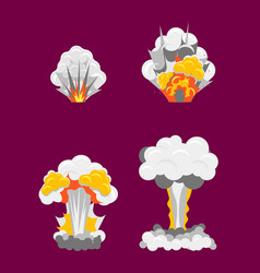 cartoon stages process of explotion effect set vector image vector image