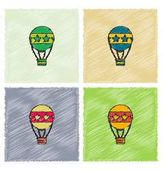 Circus watercolor hot air balloon collection in vector