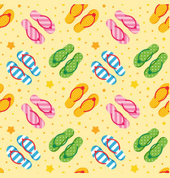 colorful flip flops on sandy beach pattern vector image
